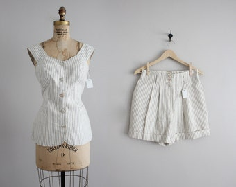 striped linen top and shorts / two piece outfit / linen shorts and top