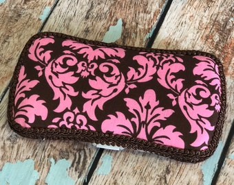 Brown and Pink Travel Wipe Case Baby Wipe Case Ready to Ship