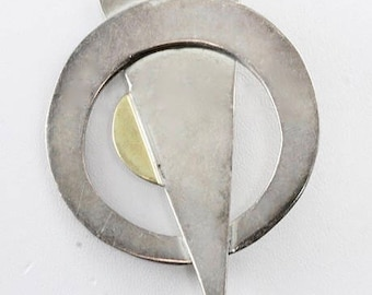 Taxco Mexico, Sterling Silver and Brass, Vintage Brooch, Made in Mexico, Hecho in Mexico