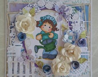 carte sur le thème jardin avec un personnage et son arrosoir