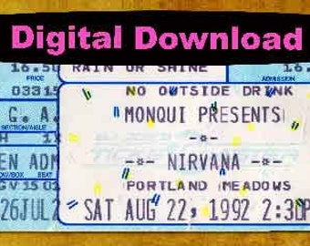 Nirvana  Concert Ticket Stub, PHOTOSHOP FILE
