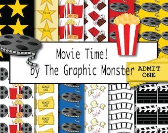 Scrapbook Paper Movies, Digital Paper Movies, At the Movies, Movie Themed Digital Paper, Movie Themed Scrapbook Paper, Clip Art Movies