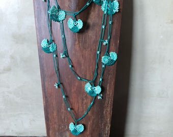 Hand crocheted beaded flower lariat necklace