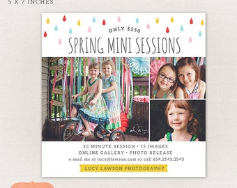 Spring Mini Session Template - All purpose marketing board MS015 - Photoshop template INSTANT DOWNLOAD