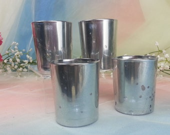 100 per order Antique Silver Mercury Glass Votive Candle Holder for Weddings and Parties, Faux Silver Mercury Style, Bulk Custom Votives
