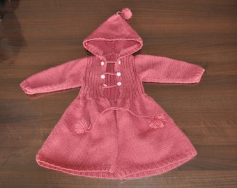 Pink coat with hood in wool
