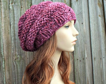 Chunky Knit Hat Womens Hat - Oversized Beehive Slouchy Beret Strawberry Pink Knit Hat - Pink Hat Pink Beret Pink Beanie