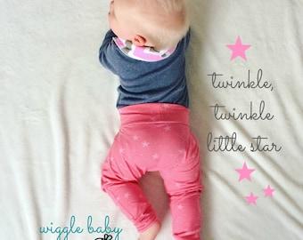 Harem Pants, Lucky Stars on Pink, Baby and Kids Harem Pant Leggings