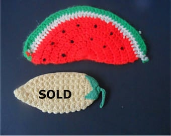 FREE SHIPPING in USA  Unusual Vintage Hand Crocheted Pot Holders Watermelon Slice shape,  73E
