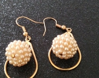 Gold and Pearl bead drop earring