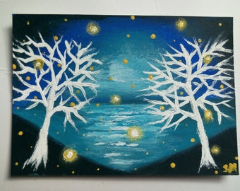 Original ACEO Painting Landscape Seascape Painting Firefly Painting Handmade Art Card White Trees Painting Original Art Artist Trading Card