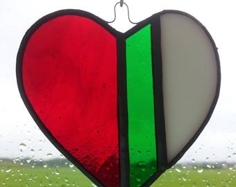 Stained Glass Red, White and Green, Heart Sun Catcher