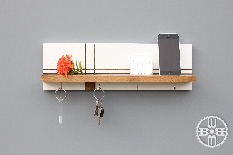 key holder for wall key rack wood shelf with key hooks. Black Bedroom Furniture Sets. Home Design Ideas