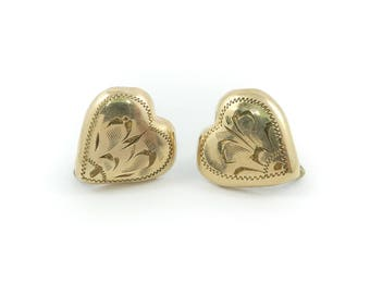 Vintage Etched Heart Earrings, Gold Filled, Screw Backs, Signed SC