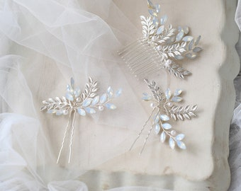 Opal Moonstone Silver Hair Comb, Hair Pins, Hairpiece // Vintage inspired / Wire Wrapped / Bridal Comb / Galas / Prom