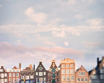 Amsterdam Photography - Moonrise Over the Damrak, Fine Art Photograph, Travel Wall Decor, Large Wall Art