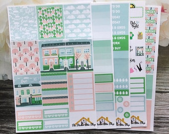 """Planner Sticker Kit / """"Blossom in the Town"""" Weekly Kit / EC Vertical Kit / A La Carte"""