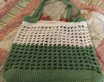 Green/tan market bag