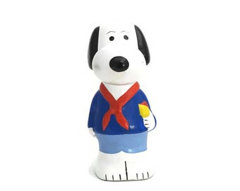 Vintage Snoopy Scout Money Box. Gift for Scout. Ceramic Snoopy Collectible. Snoopy Figurine.