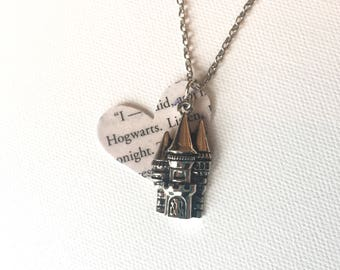 Hogwarts Necklace, Harry Potter Book Page Necklace, Harry Potter Jewelry, Hogwarts Gift, Book Club Gift, First Anniversary Gift, Books