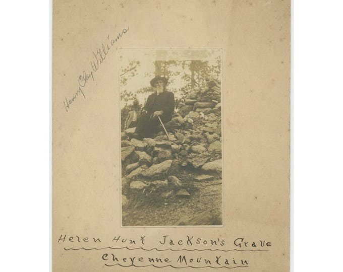 Henry Clay Williams at Helen Hunt Jackson Grave, Cheyenne Mountain CO 1906 Vintage Snapshot Photo (78596)