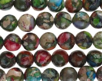 "Dakota Stones Mixed Impression Jasper 6mm Round Gemstones. 8"" Strand. MIM6RD-8"