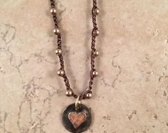 Heart Pendant - Bronze Swarovski Pearl Necklace