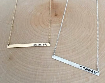 "Silver or Gold ""momma"" Bar Necklace // Cable Chain"