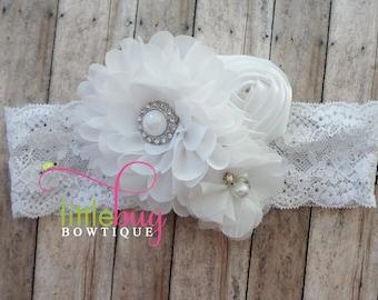 All White Headband, Easter Headband, Wedding Headband, Christening Headband, Baptism Headband, Girls, Newborn, Toddler, White Hair Bow, Gift