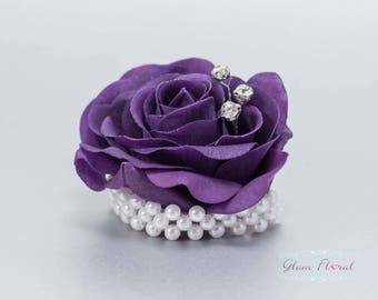 Child's Wrist Corsage. Small Purple Rose w. rhinestones, pearls.  Flower girl bracelet. Father Daughter Dance. Tea Rose Collection