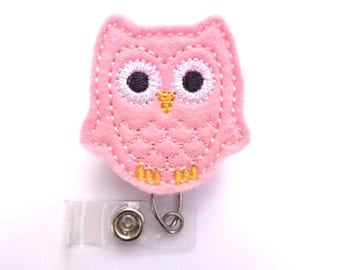 SALE - Badge Holder Retractable - Hootie owl pink wool felt  badge reel - nurse badge reel medical badge holder
