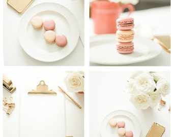 Macarons and Gold Clipboard | Styled Mockup + Stock Images for Instagram