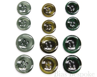 Three Shades of Luminous Green Galalite Buttons, Made in Italy