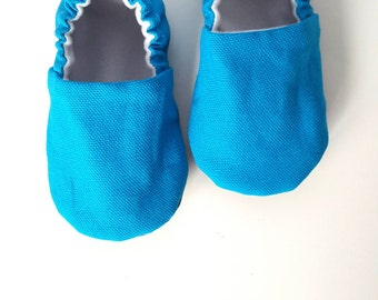 Classic Peacock Blue Baby Moccs / Baby Shoes / Baby Moccasins / Childrens Indoor Shoes / Organic Baby Moccs / Vegan moccs / Vegan Moccasins