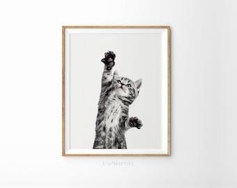 Cat On Canvas Print   Black And White Animal Print   Printable Art    Printable Gift