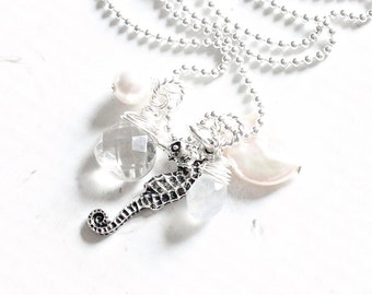 Moonstone Necklace Seahorse Gemstone Cluster Necklace Beach Jewelry