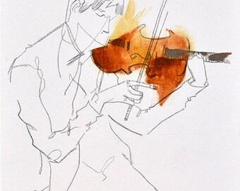 Série complète de Quartet / 4 imprime | mur d'art moderne abstrait violon violoniste musicien