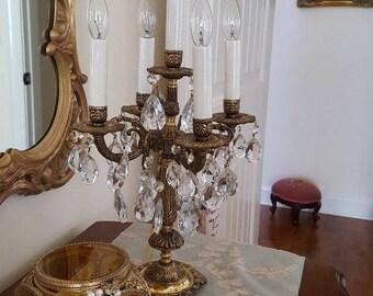 Crystal Candelabra Lamp Brass*French*BoHo*Table Chandelier Candelabra*Bronze Brass*5 light Prisms*Table Chandelier