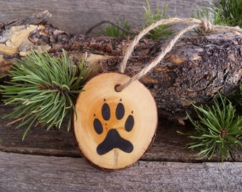Rustic Christmas Ornament with Fox Tracks / Wooden Christmas Ornament with Animal Tracks  / Fox Christmas Ornament / Wooden Tree Ornament.