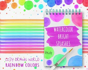Watercolor Bright Splashes/ Hand Painted/ Watercolor Clipart/ PNG 300 dpi/ Digital Art/ High Resolution Objects/ Scrapbooking/ Create Design