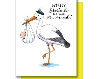 Totally Storked On Your New Arrival New Baby Stork Card