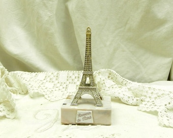 Small Vintage 1960s Souvenir Gold Colored Eiffel Tower from Paris, Tourist from France, French Retro Plastic Figurine of the Tour Eiffel