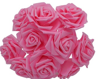set of 5 pretty artificial flowers in the shape of rose - pink