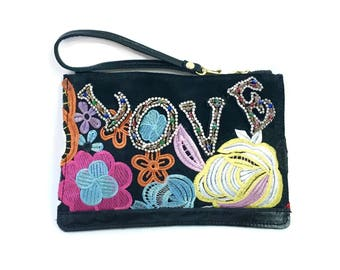Love Clutch // Bright floral beaded wristlet // Black leather clutch purse