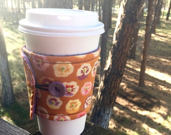 Reusable Coffee Sleeve - Bronze & Purple Floral