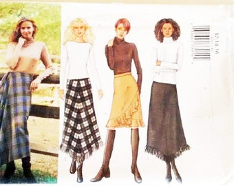 "UNCUT Butterick #3261 Blanket Wool Wrap Skirt Sewing Pattern 3 Options 3 Sizes Waist 26.5""  28"" 30""  UK 12 14 16"