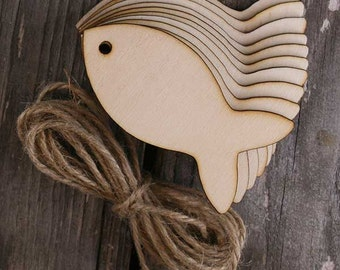 10x Wooden Simple Basic Fish Craft Shape 3mm Ply