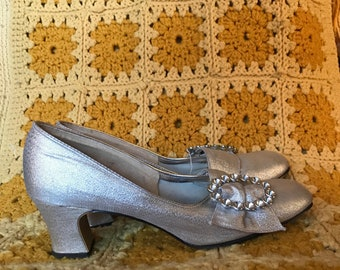 Silver 1960's Pumps Size 6