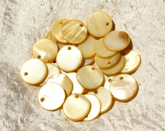10pc - yellow round 15mm 4558550017550 Pearl charms
