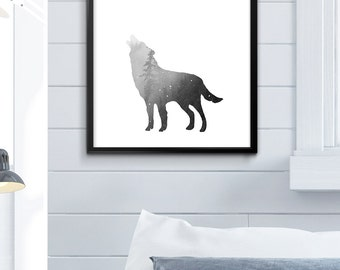 Howling Wolf, Wolf Print, Wolf Poster, Wolf Printable, Wolf Wall Art Wolf Decor Multiple Sizes 4x6 5x7 8x10 11x14 12x16 24x30 Card Printable